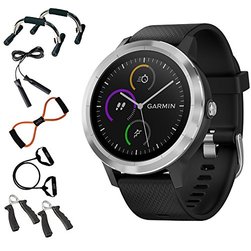 Garmin 010-01769-01 Vivoactive 3 GPS Fitness Smartwatch (Black & Stainless) + 7-in-1 Total Resistance Fitness Kit + Charging & Data Transfer Cable + Universal Travel Wall Charger by Beach Camera