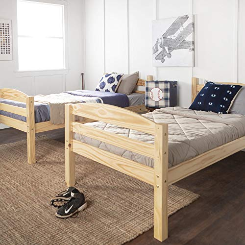 WE Furniture AZWSTOTNL Twin Bunk Bed, Natural