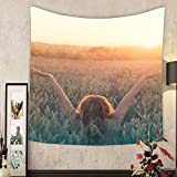 Lee S. Jones Custom tapestry peace and love hipster woman celebrates the birth of the sun in a wheat field