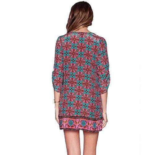Ularmo Motif Femmes Le Baroque Vent Vintage Imprimer Robe ample Robe d'été (S)