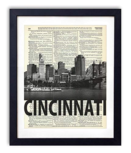 Bold Art - Cincinnati Skyline With Bold Name Dictionary Art Print 8x10