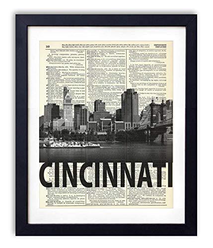 Cincinnati Skyline With Bold Name Dictionary Art Print 8x10