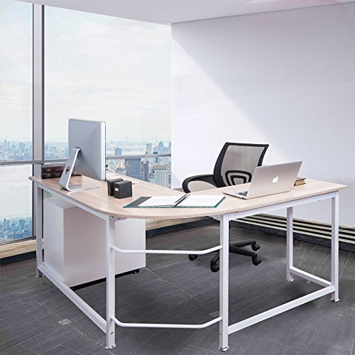 ModernLuxe WF036968LAA L-Shape Home Office Corner Computer Desk PC Laptop Table Workstation Wood & Metal (Oak)