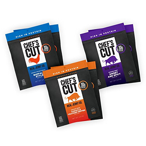 Beef Honey Bbq (Chef's Cut Real Beef, Chipotle Beef, Honey BBQ Chicken Jerky| Variety Pack |  6 count | 2.5 oz)