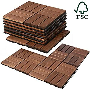 Mammoth Easy Lock Sustainably Sourced Solid Acacia Wood Oiled Finish  Interlocking Deck Tiles, Water Resistant Outdoor Patio Pavers or Composite  Deck