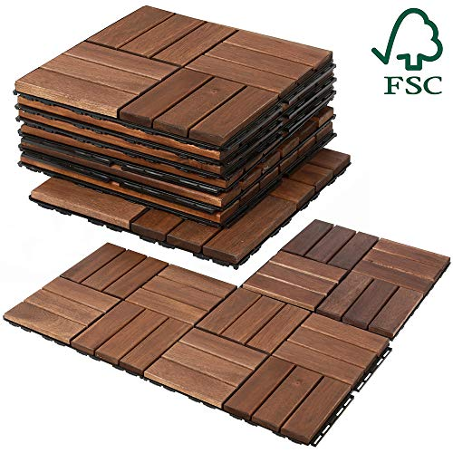 4 Slat Deck Tiles - Mammoth Easy Lock Sustainably Sourced Solid Acacia Wood Oiled Finish Interlocking Deck Tiles, Water Resistant Outdoor Patio Pavers or Composite Deck Flooring, Pack of 11 (11 SQFT) (Checker (12 Slat))
