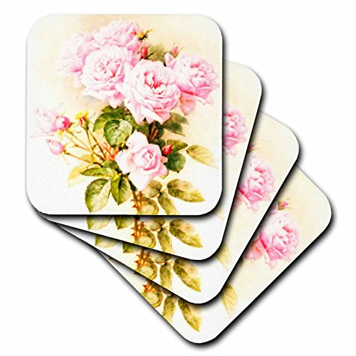 Fine Art Ceramic Tile (3dRose cst_151447_3 Paul De Longpre Shabby Chic Vintage Pink Roses Sun-Faded Antique Flowers Fine Art Girly Floral Ceramic Tile Coasters (Set of 4))