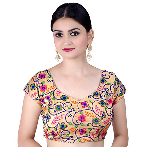 Chandrakala Women's Designer Bollywood Readymade MultiGold Indian Ethnic Saree Blouse Padded Brocade Choli-X-Small (B112MUL1)