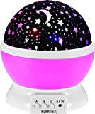 KLAREN® Night Lighting Lamp [ 4 LED Beads, 3 Model Light, 4.9 FT(1.5 M) USB Cord ] Romantic Rotating Cosmos Star Sky Moon Projector , Rotation Night Projection US Seller(Pink)