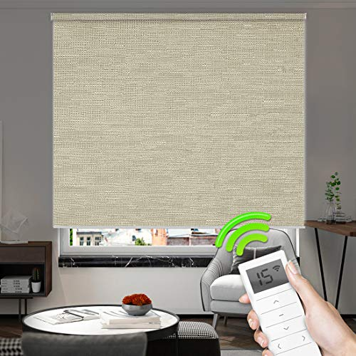 (Motorized Window Roller Shades Blinds Remote Control Wireless and Rechargeable -100% Blackout Jacquard Fabric Window Shades for Smart Home and Office Customized Size (Jacquard Coffee) )
