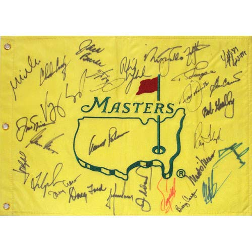 Masters Golf Pin Flag Autographed Signed Auto by 27 Former Champions #15 - Certified Authentic