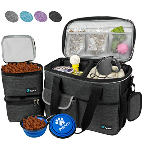 PetAmi Pet Travel Bag | Airline Approved Tote Organizer with Multi-Function Pockets, Food Container Bag and Collapsible Bowl | Perfect Dog Travel Set (Charcoal, Small)