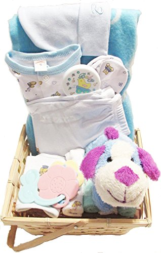 Baby Gift Basket Blue Set w/ Plush, Rattles, Wash Cloths, Baby Blanket, and Set of Clothes
