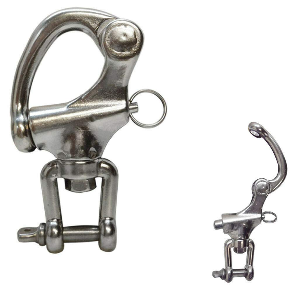 Stainless Steel 5'' Swivel Jaw Snap Shackle Sailboat Quick Release Locking New