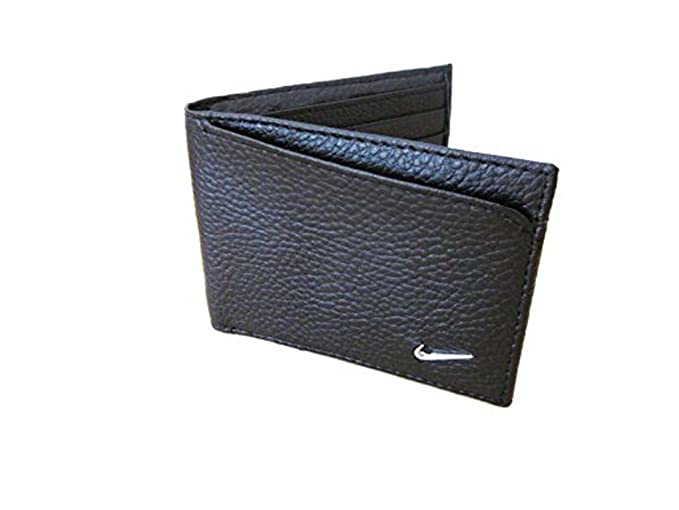 15e499b429 Amazon.com: Mens Nike Bill Fold Black Leather Wallet Metal Swoosh ...