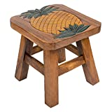Pineapple Design Hand Carved Acacia Hardwood Decorative Short Stool