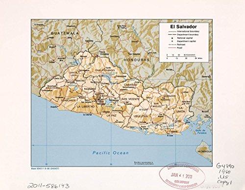 - VintPrint Map Poster - El Salvador. 24 X 19