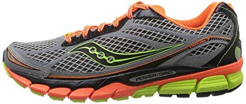 SAUCONY - RIDE 7 - 20255-1 - Chaussures d'athlétisme - Homme, Multicolore - Gris / Naranja / Amarillo, 43