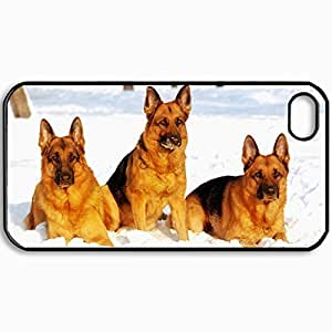 Customized Cellphone Case Back Cover For iPhone 4 4S, Protective Hardshell Case Personalized Dog Shepherd Snow Black