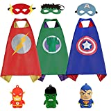 3KINGS Comics Cartoon Dress Up Costumes for Kids 3 Capes and Masks with 3 Finger Doll