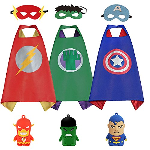 3KINGS Comics Cartoon Dress Up Costumes For Kids 3 Capes and Masks With 3 Finger Doll - Easy Superhero Costumes To Make