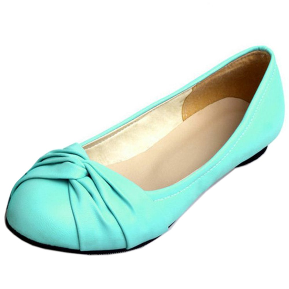 KemeKiss Women Simply Comfortable Slip On Ballet Shoes Casual Knotted Cute Flats B01N6PGL1V 6 B(M)US = 23.5 CM|Blue