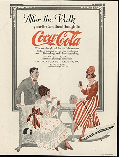 Coca Cola Color Advertisement - Enjoying Refreshing Beverage Coca Cola Advertisement 1916 vintage color print