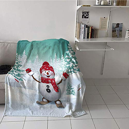 Khaki home Children's Blanket Digital Printing Warm Blanket (70 by 90 Inch,Christmas,Snow Covered Mountain with Fir Trees and Skiing Snowman Fun Holiday Activity,Teal Red White