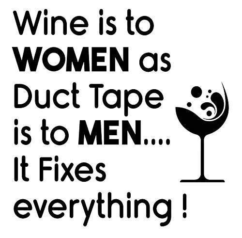 Funny Quote Wall Decals Vinyl Wall Decal - Wine Is To Women As Duct Tape Is To Men