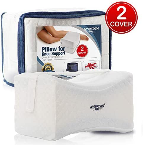 Knee Pillow for Side Sleepers with Strap use as Soft Knee Support - Contour Leg Pillows for Sleeping Between Knees for Joint Pain, Back Pain, Sciatica Pain Relief + Extra 100% Natural Cotton Cover