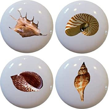 Seashell Ceramic Cabinet Drawer Pull Knobs Set Of 4