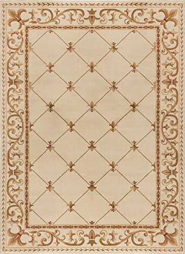 Ivory Turkish Rug (Universal Rugs Orleans Traditional Border Ivory Rectangle Area Rug, 5' x 7')