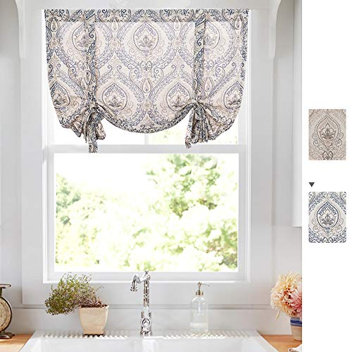(jinchan Damask Printed Paisly Tie Up Shade Curtains Rod Pocket Drapes Multicolor Medallion Flax Living Room's Window Curtain (1 Panel,42