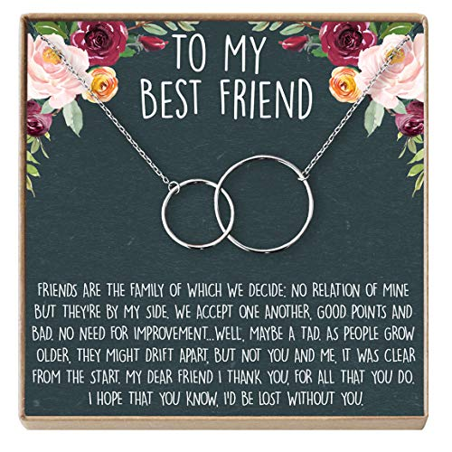 Best Friend Necklace - Heartfelt Card & Jewelry Gift for Birthday, Holiday, More (2 Interlocking Circles Silver) (Wedding Gifts For Your Best Friend)