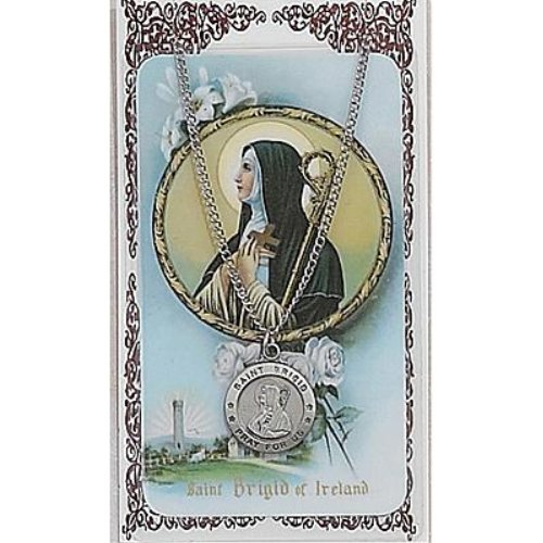 Saint Brigid 3/4-inch Pewter Medal Pendant Necklace with Holy Prayer Card by McVan