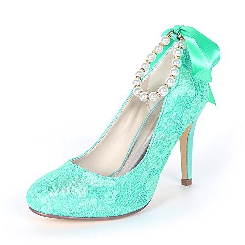 08LS Spitze High Perlen Bänder Schuhe Partei Satin Abschlussball Gerichts Damen Ager Heel 5623 Flower Hochzeits Lakeblue Zehe Geschlossener qCzR4Ewqn