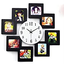 CXYY 11*9cm 8 Picture Multi Photo Frame Display Wall Clock Time Family Album Colorful Color Modern , black