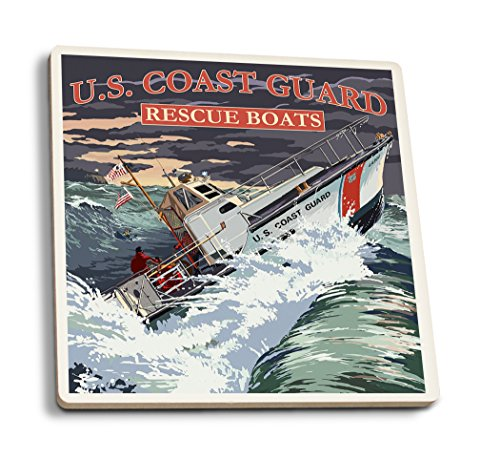 U.S. Coast Guard - 44 Foot Motor Life Boat (Set of 4 Ceramic Coasters - Cork-backed, Absorbent) - Coast Guard Motor Lifeboat