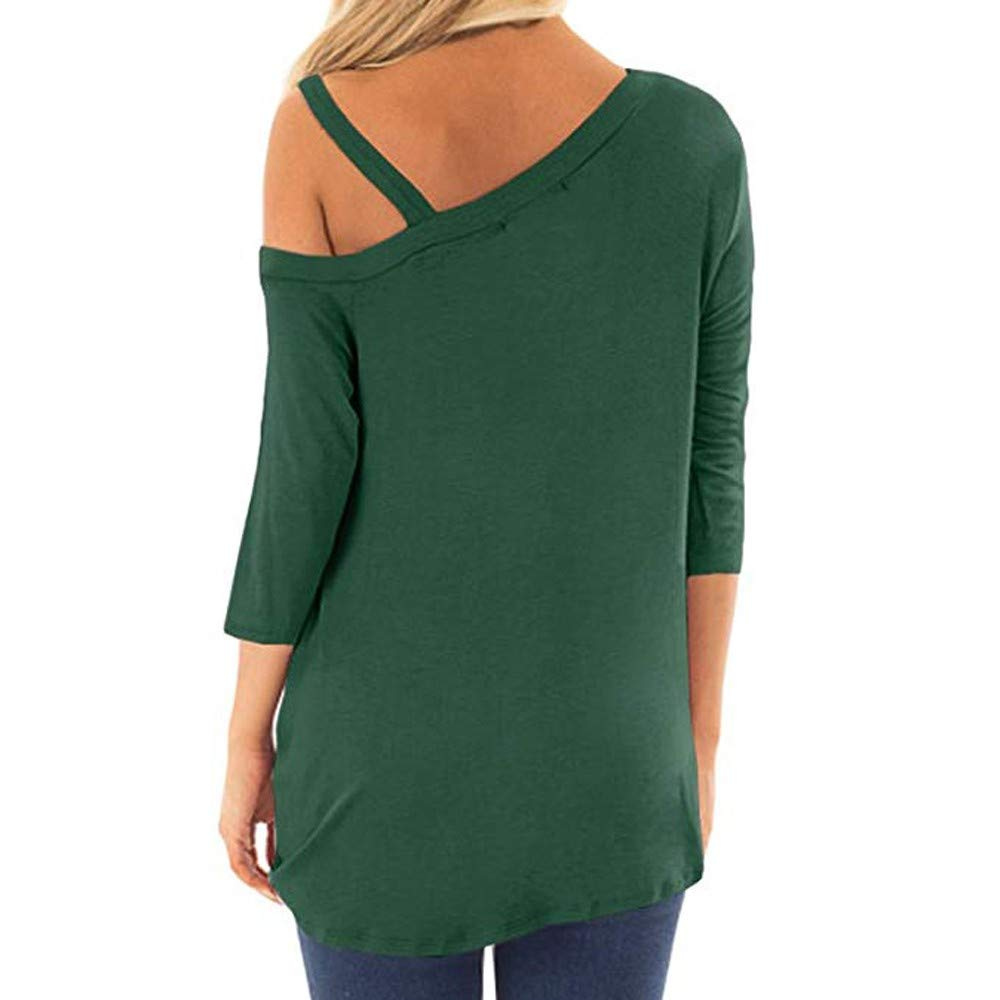 iQKA Women Oblique Off Shoulder Tee Shirt 3/4 Sleeve Knot Blouse Tunic Top(Green,Medium by iQKA (Image #3)