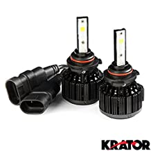 Krator LED 9005 Headlight Conversion Bulbs 40W 4000LM Light Bulb XtraBright 6000K White with Built-In Turbo Cooling Fan for 2002-2007 Honda Accord 2 dr.