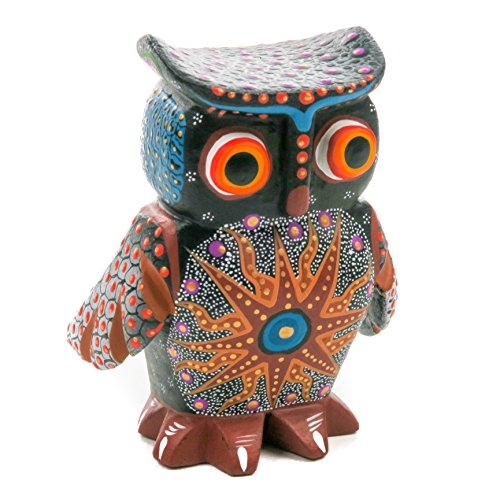 - CUTE BLACK OWL Handcrafted Oaxacan Alebrije Wood Carving Mexican Folk Art Sculpture Painting