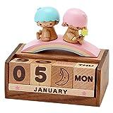[Little Twin Stars] Calendar 2015 desktop calendar / wooden perpetual calendar / wooden desk calendar / anime calendar / Sanrio calendar / 2015 Edition calendar / 2015 calendar and desk calendar / gift / 3D / perpetual calendar