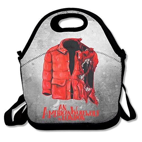 Bakeiy An American Werewolf Coat Lunch Tote Bag Lunch Box Neoprene Tote For Kids And Adults For Travel And Picnic (Salem Costume)