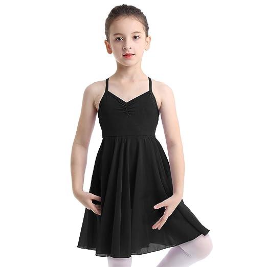 4e72e36db83b dPois Kids Girls' Contemporary Ballet Dance Empire Waist Chiffon Dress  Gymnastics Dancing Costumes Black 2