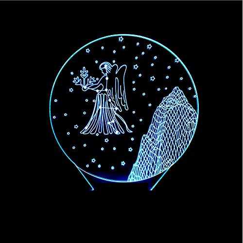 kkkmb Constellation Virgo Acrylic 3D Touch Small Table Lamp 3D Colorful Changing Night Lamp
