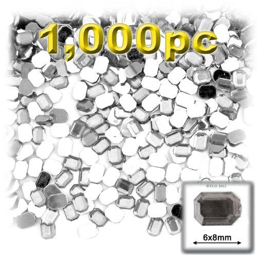 工芸のアウトレット1000-pieceアクリルアルミ箔フラットバックオクタゴン8で長方形ラインストーン、6mm、クリア