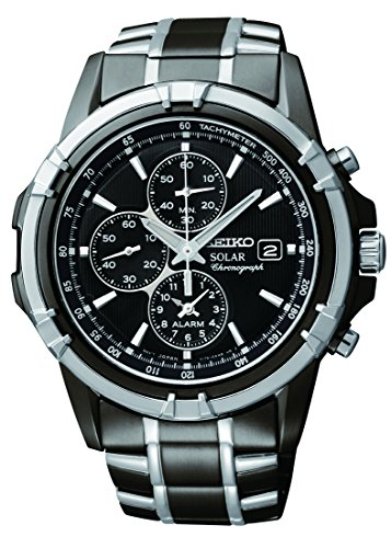 Titanium Chronograph Alarm Watch 100m - Seiko Men's SSC143 Stainless Steel Solar Watch with Link Bracelet