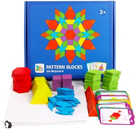 Freedom River Valley 155 Pcs Wooden Pattern Blocks/-Geometric Shape Puzzle with 24 Pattern Cards Educational and Fun!! Montessori Tangrams for Kids 3 Years