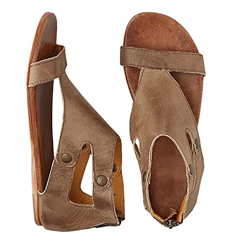 Womens Sandals Flat Ankle Gladiator Thong Flip Flop Beach Leather Casual Summer (Leather Womens Sandals)