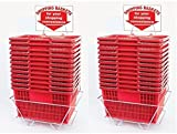 Red Shopping Baskets (Set of 24 with 2 stands and Sign) Durable Red Plastic with Metal Handles